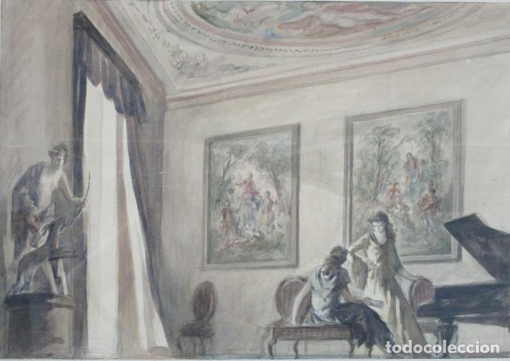 Arte: Bonita Acuarela - Alfred Opisso (Barcelona 1907- Mataró 1980) - Foto 2 - 213939998