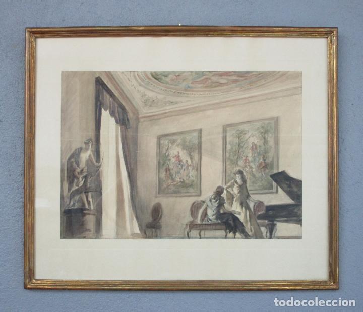 BONITA ACUARELA - ALFRED OPISSO (BARCELONA 1907- MATARÓ 1980) (Arte - Acuarelas - Contemporáneas siglo XX)