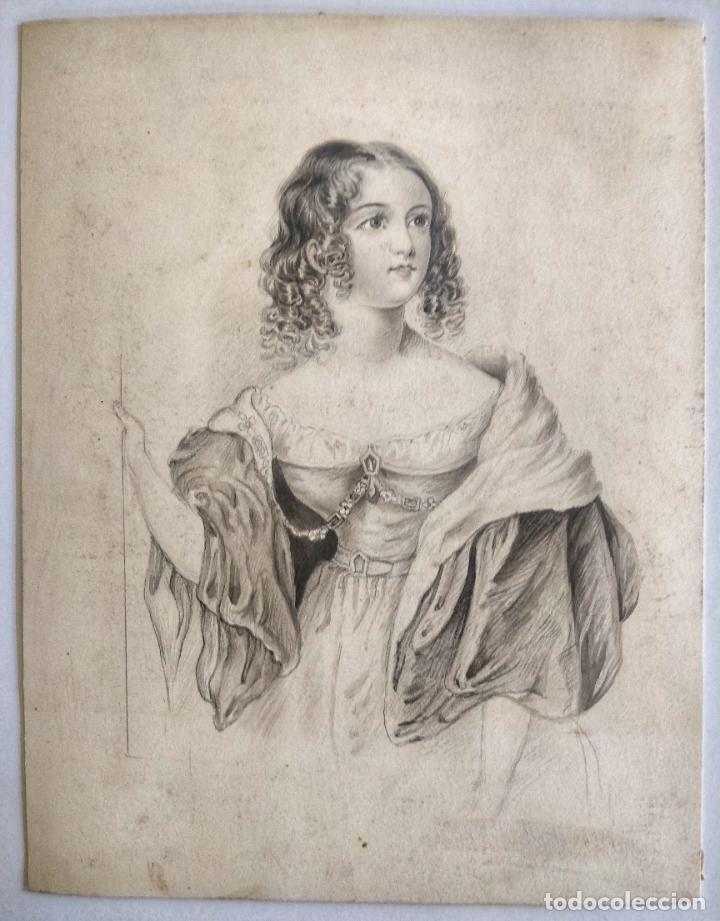 Arte: Excelente retrato original en acuarela y lapiz de principios del siglo XIX, circa 1810. Gran calidad - Foto 2 - 214026670
