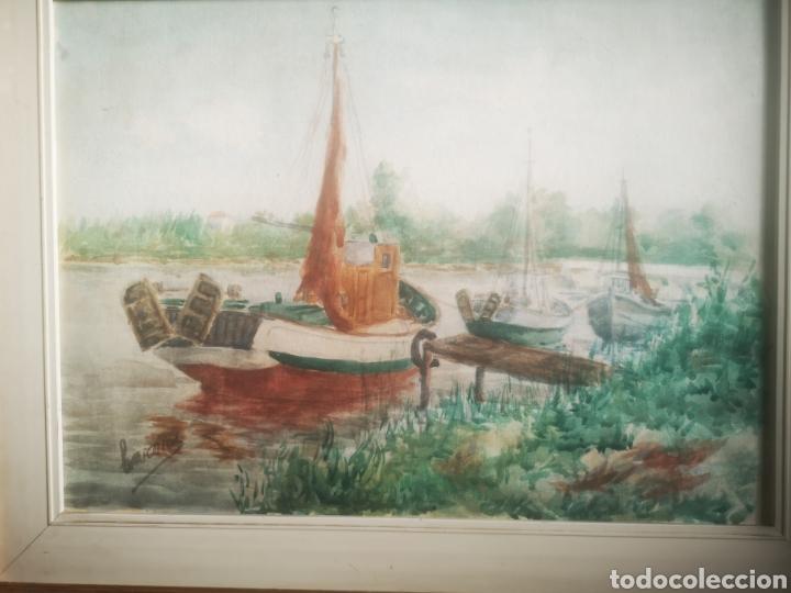 Arte: Preciosa Marina pintada con acuarela por Barona 63x50 enmarcada - Foto 2 - 214206316