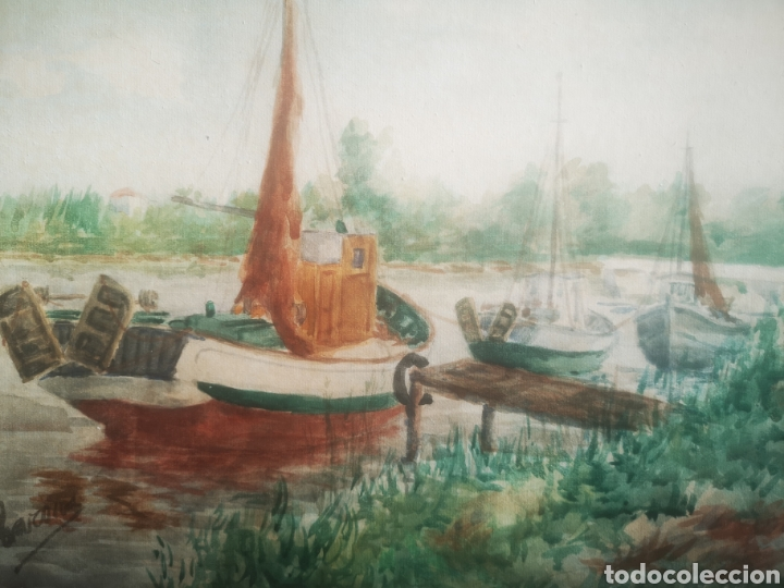 Arte: Preciosa Marina pintada con acuarela por Barona 63x50 enmarcada - Foto 3 - 214206316