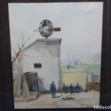 Arte: ACUARELA DE RAMON CAMI.MOLI DE LA BOMBA.TERRASSA.. Lote 214499181