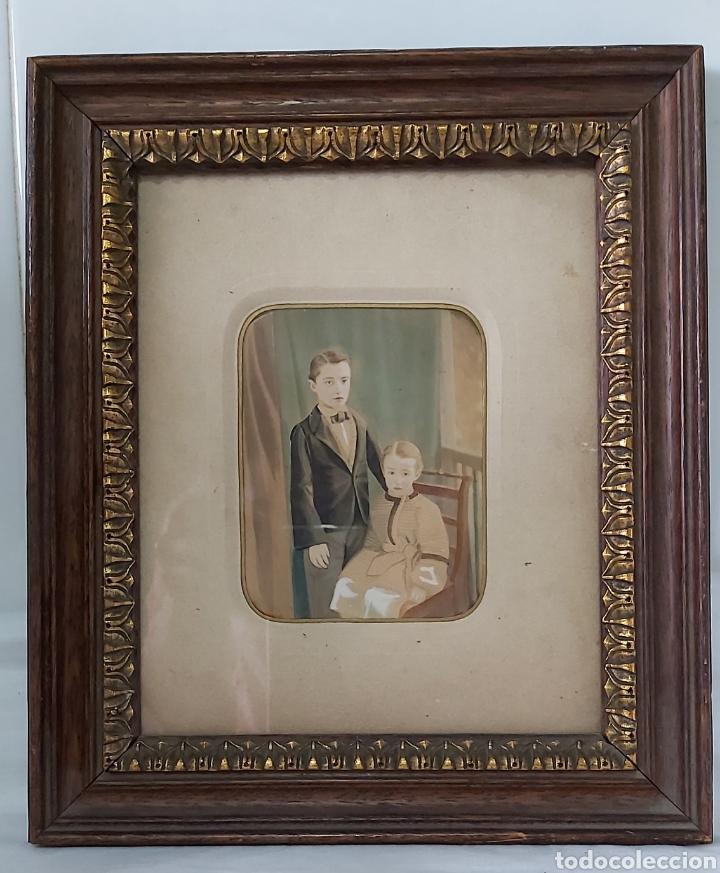 RETRATO GOUACHE/ACUARELA S.XIX CON MARCO DE MADERA CH ULRICH JUN & CO WIEN VIENA (Arte - Acuarelas - Modernas siglo XIX)