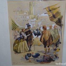 Arte: ACUARELA FIRMADA VIRGILI DE GRAN CALIDAD.MERCADO EN LA CIUDAD.. Lote 214572405