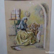 Arte: ACUARELA FIRMADA VIRGILI DE GRAN CALIDAD.TEJEDORA.. Lote 214572470