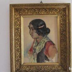 Arte: CARLOS VÁZQUEZ ÚBEDA. C. REAL 1869. BARCELONA 1944. ACUARELA SOBRE PAPEL. 48X37. CON MARCO 70X60. Lote 215350572