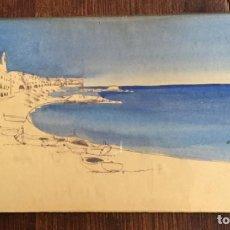 Arte: CALELLA DE PALAFRUGELL, COSTA BRAVA (GERONA). DIBUJO A LA TINTA Y ACUARELA. Lote 216550935