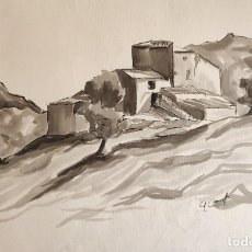Arte: AGUADA ORIGINAL. PAISAJE DE IBIZA. ANA Mª BURRUT.. Lote 216944517