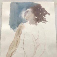 Arte: ACUARELA A DOBLE CARA DE EMÍLIA CASTAÑEDA. NUDISMO FEMENINO.. Lote 216948118