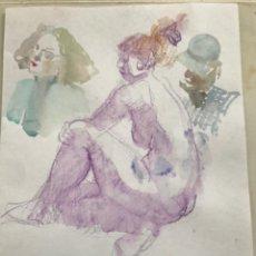 Arte: TRES ACUARELA DE EMÍLIA CASTAÑEDA. NUDISMO.. Lote 216948270