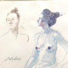 Arte: ACUARELA A DOBLE CARA DE EMÍLIA CASTAÑEDA.. Lote 216949620