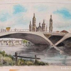 Arte: RIDRIGUEZ PESCADOR PUENTE NUEVO ZARAGOZA ACUARELA. Lote 216974255