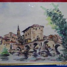 Arte: ACUARELA FIRMADA PANIAGUA.PUEBLO POR DETERMINAR.. Lote 217392006