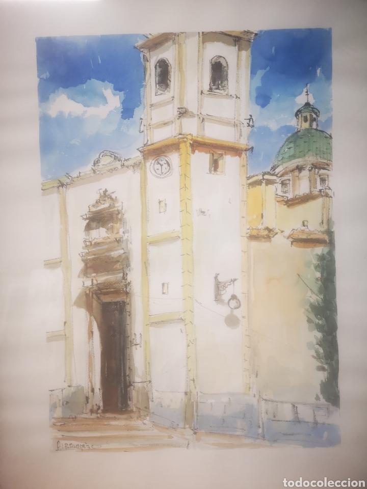 Arte: ALBALADEJO, EXCELENTE ACUARELA FIRMADA POR EL ARTISTA, IGLESIA. ENMARCADO 52X73CM - Foto 2 - 217538862