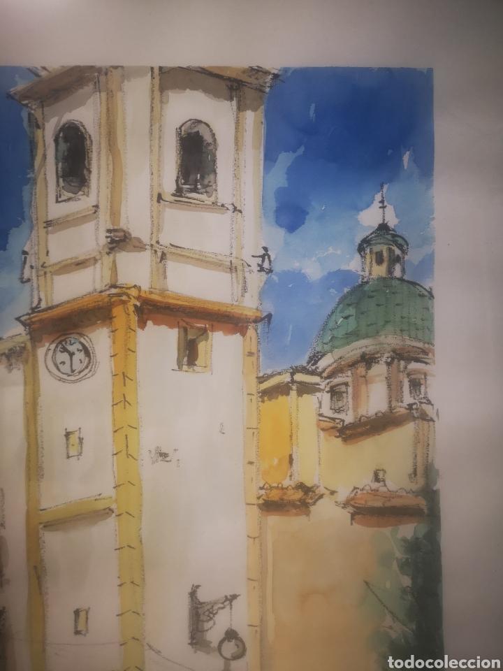 Arte: ALBALADEJO, EXCELENTE ACUARELA FIRMADA POR EL ARTISTA, IGLESIA. ENMARCADO 52X73CM - Foto 5 - 217538862
