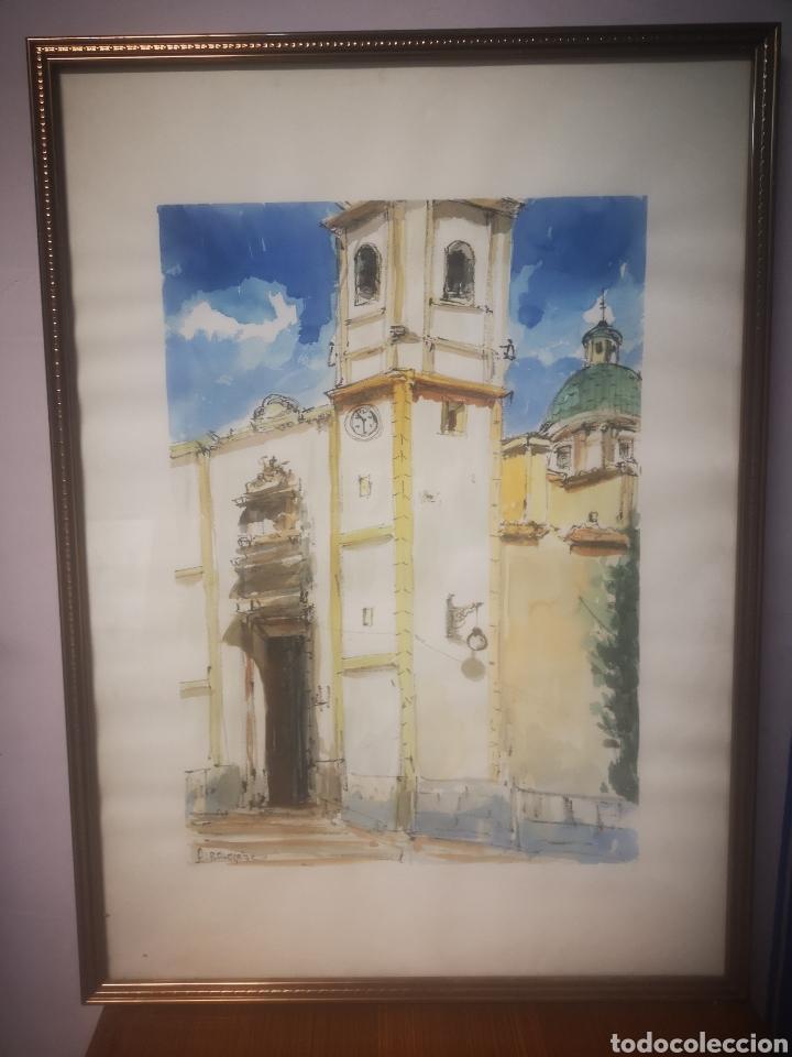 ALBALADEJO, EXCELENTE ACUARELA FIRMADA POR EL ARTISTA, IGLESIA. ENMARCADO 52X73CM (Arte - Acuarelas - Contemporáneas siglo XX)