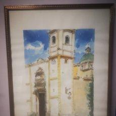 Arte: ALBALADEJO, EXCELENTE ACUARELA FIRMADA POR EL ARTISTA, IGLESIA. ENMARCADO 52X73CM. Lote 217538862