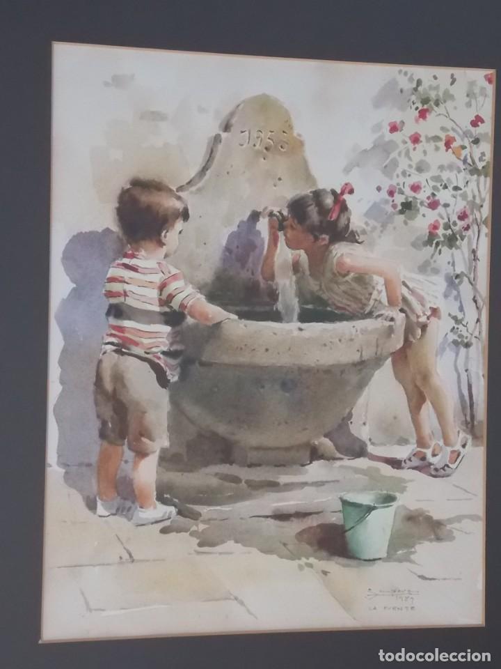 Arte: ACUARELA RAFAEL SEMPERE OBRA LA FUENTE - Foto 7 - 217584307