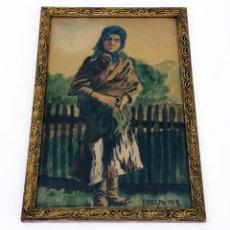 Arte: ACUARELA DE MUJER CAMPESINA DEL PINTOR HÚNGARO IZSÁK PERLMUTTER (1866-1932). Lote 218120576