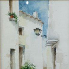Arte: ACUARELA SOBRE PAPEL CALLE DE PUEBLO FIRMA ILEGIBLE. Lote 218198871