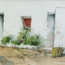 Arte: ACUARELA SOBRE PAPEL CALLE DE PUEBLO FIRMA ILEGIBLE. Lote 218199708