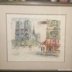 Arte: ACUARELA NOTRE DAME ROBERT LE BERGER. Lote 218340151