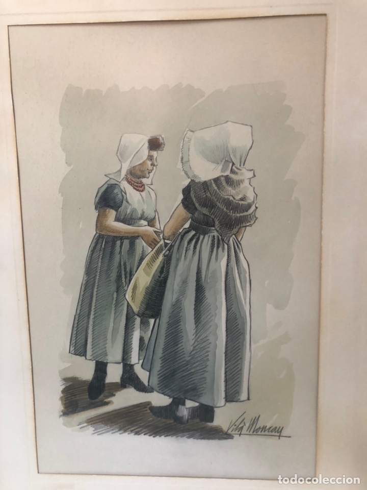 Arte: DIBUJO ACUARELA DOS MUJERES, FIRMADA VILA MONCAU. - Foto 2 - 218369463