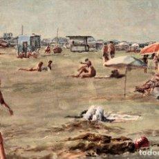 Arte: E. TATAY (ESCUELA VALENCIANA) - JUGANDO EN LA PLAYA - 71×60 ENMARCADO. Lote 218679341