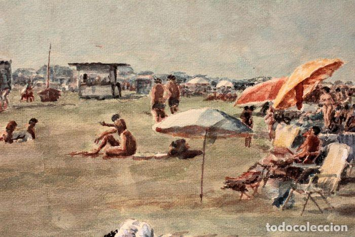 Arte: E. TATAY (escuela valenciana) - Jugando en la playa - 71×60 enmarcado - Foto 2 - 218679341