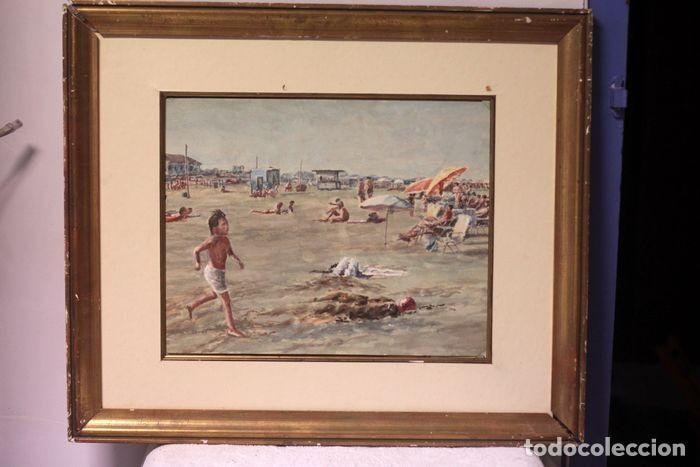Arte: E. TATAY (escuela valenciana) - Jugando en la playa - 71×60 enmarcado - Foto 3 - 218679341