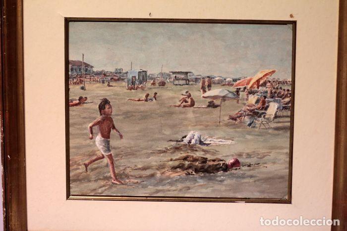 Arte: E. TATAY (escuela valenciana) - Jugando en la playa - 71×60 enmarcado - Foto 4 - 218679341