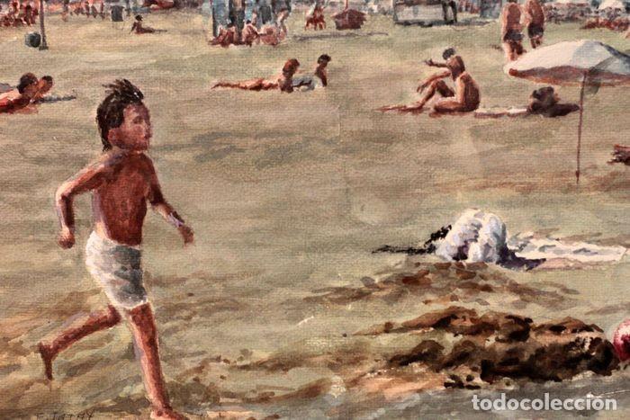 Arte: E. TATAY (escuela valenciana) - Jugando en la playa - 71×60 enmarcado - Foto 5 - 218679341