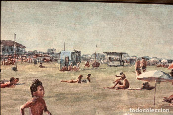 Arte: E. TATAY (escuela valenciana) - Jugando en la playa - 71×60 enmarcado - Foto 6 - 218679341