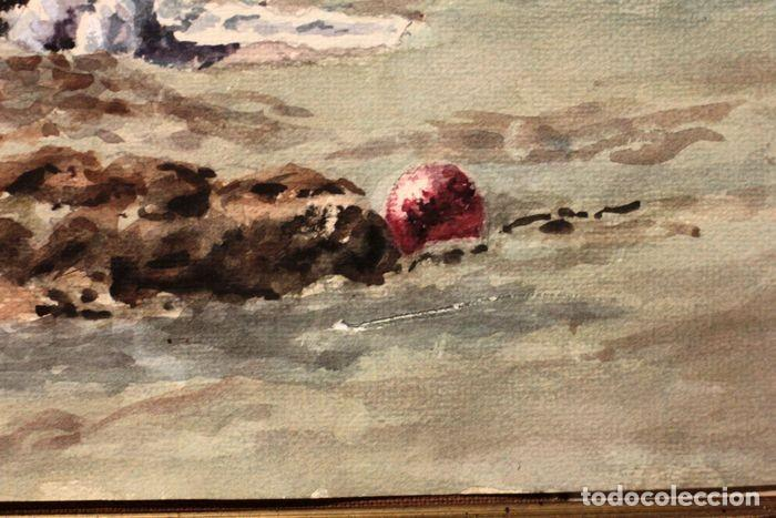 Arte: E. TATAY (escuela valenciana) - Jugando en la playa - 71×60 enmarcado - Foto 7 - 218679341