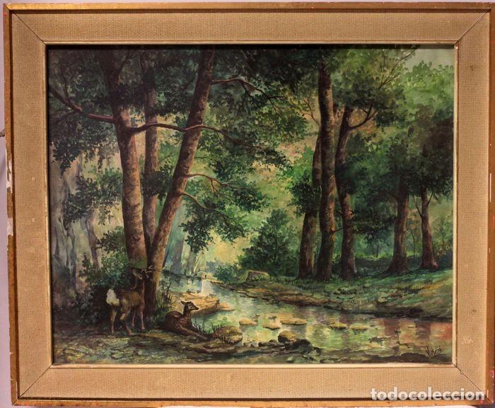 VICENTE MELIÓ ALFONSO - CERVATILLOS EN EL BOSQUE- ACUARELAS - FIRMADO A MANO - 76X63 ENMARCADO (Arte - Acuarelas - Contemporáneas siglo XX)