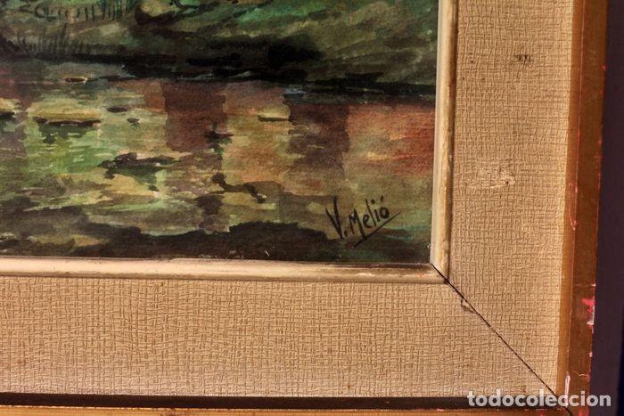 Arte: Vicente Melió Alfonso - Cervatillos en el bosque- Acuarelas - Firmado a mano - 76x63 enmarcado - Foto 4 - 218681750