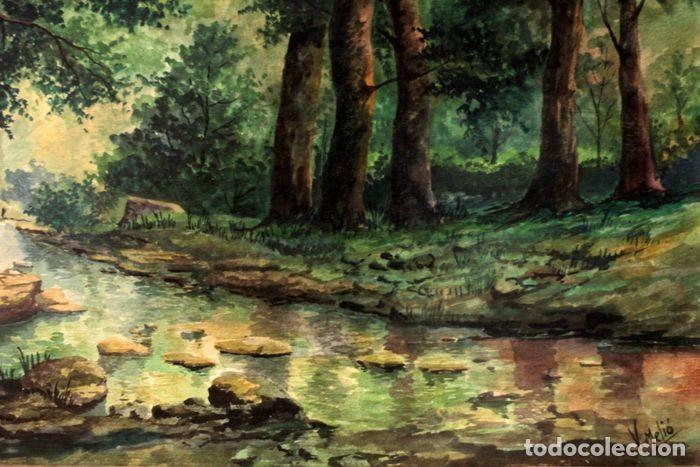 Arte: Vicente Melió Alfonso - Cervatillos en el bosque- Acuarelas - Firmado a mano - 76x63 enmarcado - Foto 12 - 218681750