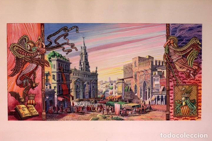 VICENTE MELIÓ ALFONSO - REGNE DE VALENCIA, LLOTJA ANY 1702- ESPECTACULAR OBRA. ENMARCADA 86X56CM (Arte - Acuarelas - Contemporáneas siglo XX)