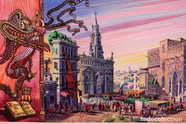 Arte: Vicente Melió Alfonso - Regne de Valencia, Llotja any 1702- Espectacular obra. Enmarcada 86x56cm - Foto 2 - 218797233