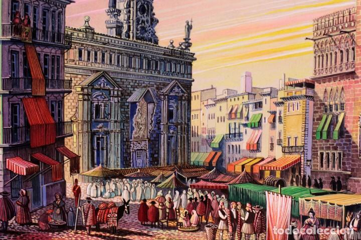 Arte: Vicente Melió Alfonso - Regne de Valencia, Llotja any 1702- Espectacular obra. Enmarcada 86x56cm - Foto 7 - 218797233