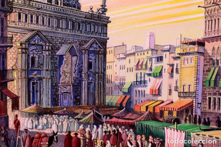 Arte: Vicente Melió Alfonso - Regne de Valencia, Llotja any 1702- Espectacular obra. Enmarcada 86x56cm - Foto 13 - 218797233