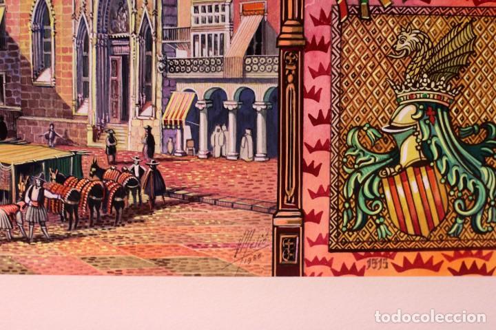 Arte: Vicente Melió Alfonso - Regne de Valencia, Llotja any 1702- Espectacular obra. Enmarcada 86x56cm - Foto 16 - 218797233