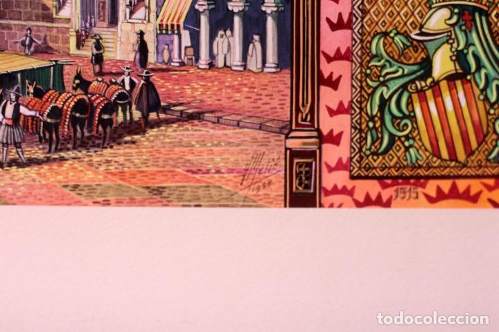 Arte: Vicente Melió Alfonso - Regne de Valencia, Llotja any 1702- Espectacular obra. Enmarcada 86x56cm - Foto 17 - 218797233