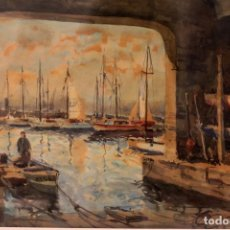 Arte: JOSE OLIVÉ (1944) ACUARELA. EL PUERTO. ENMARCADA Y FIRMADA. 84X69CM. Lote 218799272