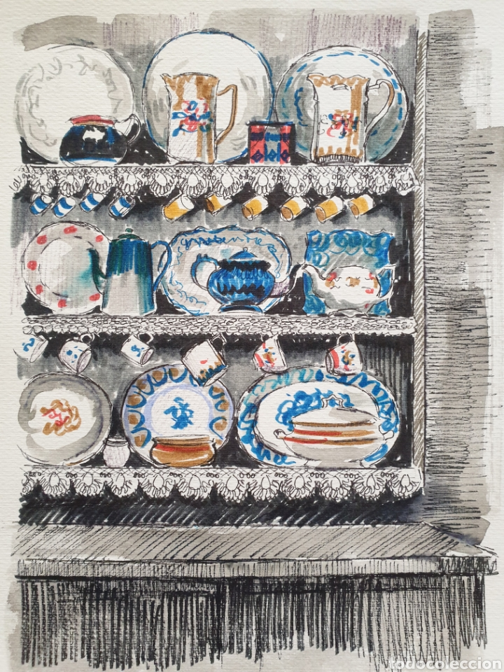 Arte: Josep Mª Vayreda Canadell (Olot, 1932-2001) - Estantes con Porcelana.Publicado.Certificado. - Foto 2 - 218803315