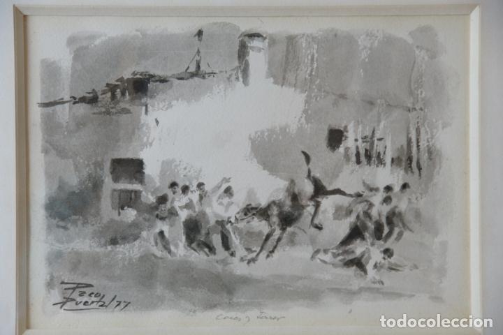 Arte: Divertida acuarela titulada Coces y Terror. Francisco Puertas. Firmado Paco Puertas / 77. - Foto 2 - 218814220