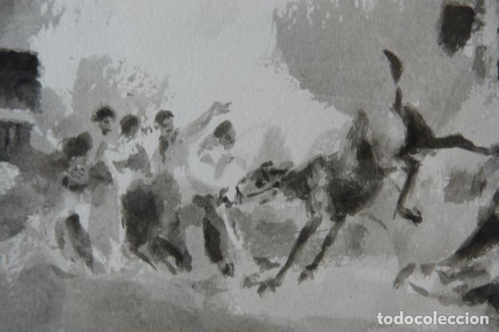Arte: Divertida acuarela titulada Coces y Terror. Francisco Puertas. Firmado Paco Puertas / 77. - Foto 3 - 218814220