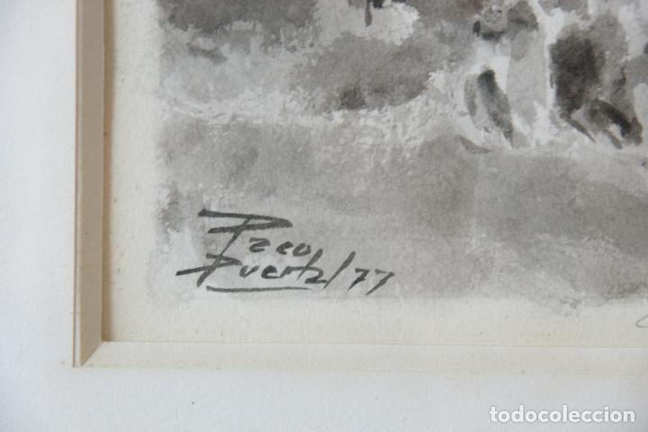 Arte: Divertida acuarela titulada Coces y Terror. Francisco Puertas. Firmado Paco Puertas / 77. - Foto 4 - 218814220