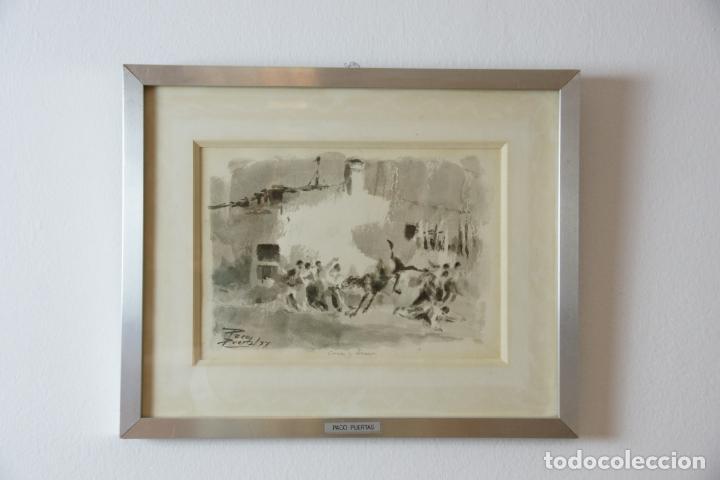 DIVERTIDA ACUARELA TITULADA COCES Y TERROR. FRANCISCO PUERTAS. FIRMADO PACO PUERTAS / 77. (Arte - Acuarelas - Contemporáneas siglo XX)