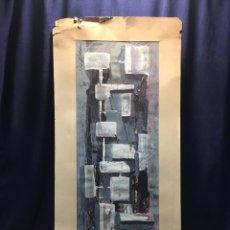 Arte: GOUACHE SOBRE PAPEL FIRMA P. CAMPOS 1958 TORRE ELEMENTOS GEOMETRICOS ESGRAFIADO 77X35CMS. Lote 218887123